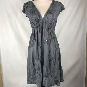 Cool Change Dress Grey Embroidered Large